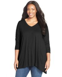 Sejour | Black Pleat Back Overlap Tee | Lyst
