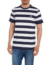 Stussy - Blue Stripe Crew Neck Regular Fit T-shirt for Men - Lyst