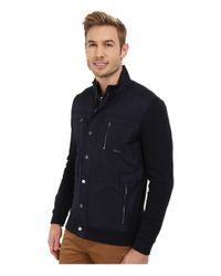 Calvin Klein | Blue Solid Texture Jacquard Mix Media Full Zip Sweatshirt for Men | Lyst