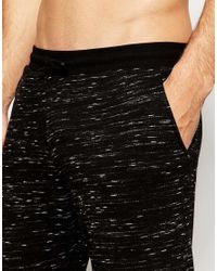 ASOS Black Loungewear Skinny Joggers In Inject Slub Fabric for men