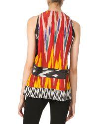 Altuzarra - Red Printed Halter Silk Top With Pleats - Lyst