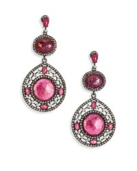 Bavna | Red Multicolor Sapphire, Champagne Diamond & Sterling Silver Teardrop Earrings | Lyst