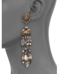 Erickson Beamon | Metallic Ballroom Dancing Crystal & Faux Pearl Tassel Earrings | Lyst