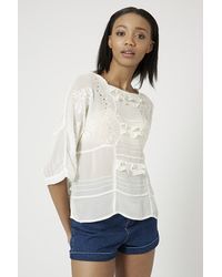 TOPSHOP - Natural Cutwork Embroidered Frill Top - Lyst