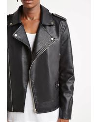 Forever 21 | Black Faux Leather Moto Jacket for Men | Lyst