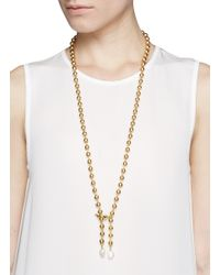 Ela Stone | Metallic 'Gilda' Baroque Pearl Brass Bead Necklace | Lyst