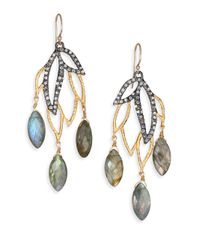 Alexis Bittar | Metallic Elements Phoenix Labradorite & Crystal Leaf Marquis Chandelier Earrings | Lyst