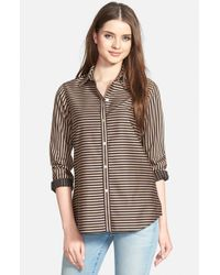 Foxcroft | Brown Stripe Non-iron Cotton Sateen Shirt | Lyst