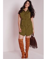Missguided | Natural Plus Size Pocket Button Front Dress Khaki | Lyst