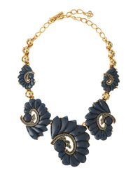 Oscar de la Renta - Blue Resin Swirl & Crystal Necklace - Lyst