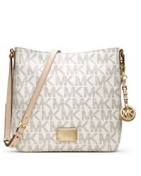 MICHAEL Michael Kors | White Jet Set Large Travel Messenger Bag | Lyst