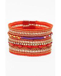 Cara | Orange Wide Mixed Media Bracelet | Lyst