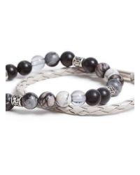 TOPMAN - White Leather Look Plait And Beaded Bracelet Set* for Men - Lyst