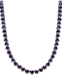 Macy's | Metallic Sterling Silver Necklace, Amethyst Necklace (30 Ct. T.w.) | Lyst