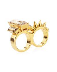 Alexander McQueen | Metallic Crystal-stud Two-finger Ring | Lyst