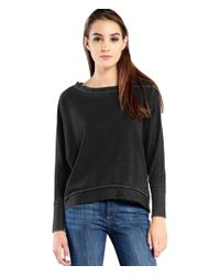 Michael Stars | Black Burnout French Terry Hi-low Sweatshirt | Lyst