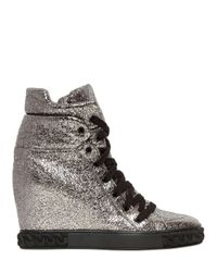Casadei - 90mm Metallic Leather Wedge Sneakers - Lyst