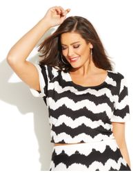 INC International Concepts - Black Plus Size Striped Crop Sweater - Lyst