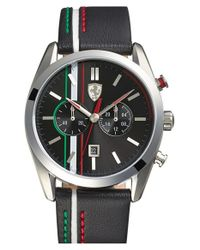 Scuderia Ferrari - Black 'd50' Chronograph Leather Strap Watch for Men - Lyst
