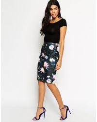 AX Paris - Black Pencil Skirt In Brush Sroke Floral - Lyst