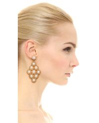 Miguel Ases | Stephanie Earrings - White/Gold | Lyst