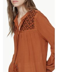Mango | Orange Embroidered Cord Blouse | Lyst