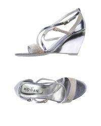 Hogan - Metallic Sandals - Lyst