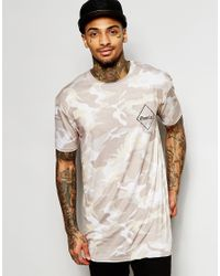 Granted - Gray Longline Camo T-shirt With Back Print for Men - Lyst