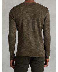 John Varvatos - Green Linen Cotton Henley Sweater for Men - Lyst