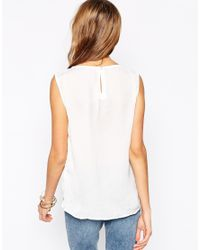 Vero Moda | Natural Sleeveless Top With Double Layered Hem | Lyst