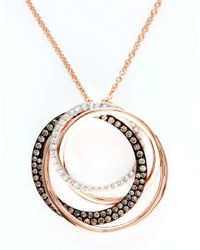 Effy | Brown Espresso Diamond And 14k Rose Gold Circle Pendant Necklace | Lyst