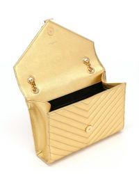 Saint Laurent - Metallic Gold Matelassã© Leather Medium Monogram Shoulder Bag - Lyst