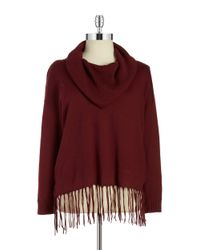 MICHAEL Michael Kors | Purple Plus Cowlneck Fringe Sweater | Lyst