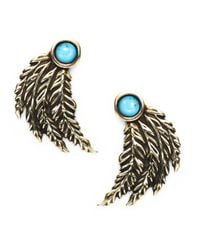 Pamela Love | Blue Feather Earrings | Lyst