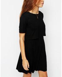 ASOS - Black Skater Dress With T-shirt Overlay - Lyst