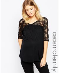 ASOS - Smock Top With Lace Panel - Black - Lyst