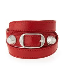 Balenciaga - Red Giant 12 Leather Wrap Bracelet - Lyst