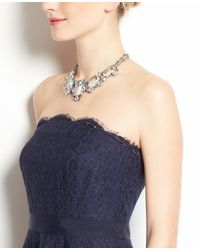 Ann Taylor - Blue Scalloped Strapless Lace Dress - Lyst