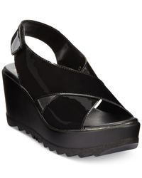 Callisto | Black Torro Platform Wedge Sandals | Lyst