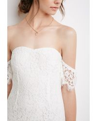 Forever 21 - Natural Off-the-shoulder Eyelash Lace Dress - Lyst