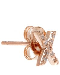 KC Designs | Pink Rose Gold Diamond X Single Stud Earring | Lyst