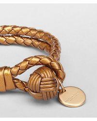 Bottega Veneta - Metallic Oro Bruciato Intrecciato Nappa Bracelet - Lyst