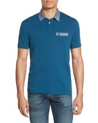 Original Penguin | Blue Chambray Trim Pique Polo for Men | Lyst