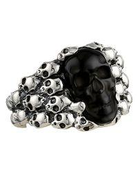 King Baby Studio - Metallic Rainbow Obsidian Carved Skull In Silver Skull Frame for Men - Lyst