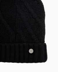 Ted Baker - Black Atexia Cable Knitted Hat With Pompom - Lyst