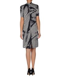 Stella McCartney - Black Striped Silk Mini Dress  - Lyst