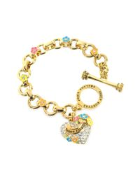 Juicy Couture - Metallic Pave Heart and Flower Charm Bracelet - Lyst