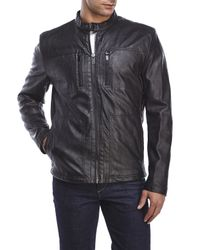 Kenneth Cole Reaction | Black Faux Leather Zip Jacket for Men | Lyst