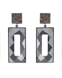 Adornia | Black Hematite And Champagne Diamond Pollock Earrings | Lyst