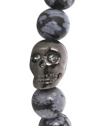 Simon Carter | Gray Grey Beaded Skull Bracelet for Men | Lyst